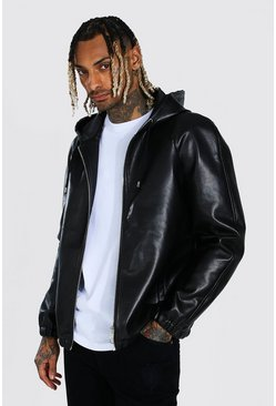 Black svart Leather Look Hooded Zip Through Jacket