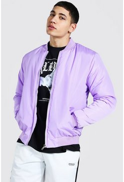 Lilac purple Ofcl Man Back Print Bomber