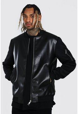 Leather Look Body Bomber, Black negro