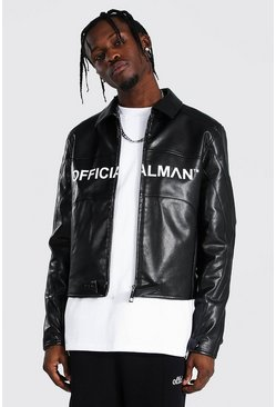 Black svart Man Branded Leather Look Harrington