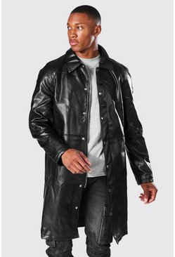 Black Leather Look Single Breasted Zip Fast Mac