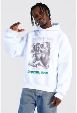 White Oversized Man Statue Back Print Hoodie