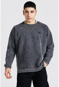 Charcoal grey Oversized Ofcl Washed Raglan Sweat