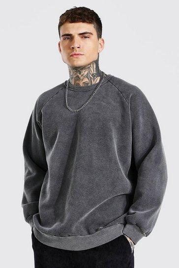 Charcoal grey Oversized Washed Raglan Sweatshirt