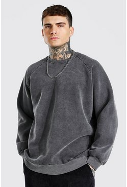 Charcoal grey Oversized Washed Raglan Sweatshirt
