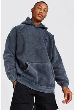 Charcoal grey Oversized Ofcl Washed Raglan Hoodie