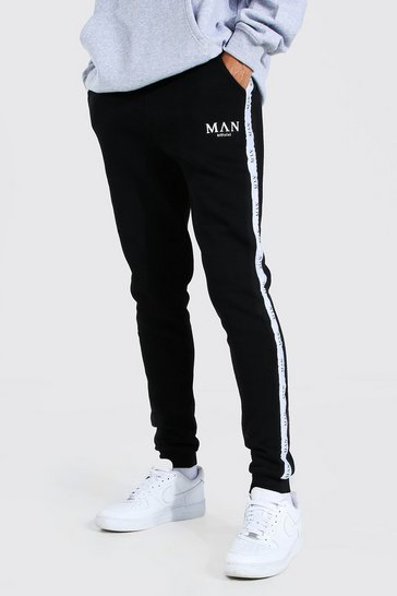 Black Tall Skinny Fit Jogger With Tape
