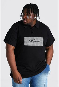 Black Plus Size Man Script Jacquard Panel Polo