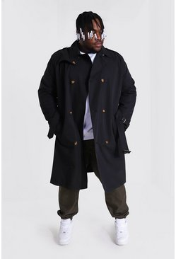 Black Plus Size Mid Length Double Breasted Mac