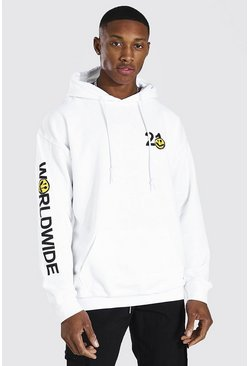 White Oversized Worldwide Spray Sleeve Print Hoodie