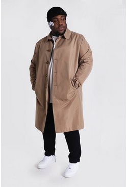 Camel beige Plus Size Single Breasted Mac