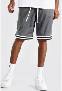 Charcoal grey Tall Gestreepte Airtex Basketbal Shorts