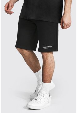 Black Tall Man Official Baggy Shorts Met Taille Band Detail