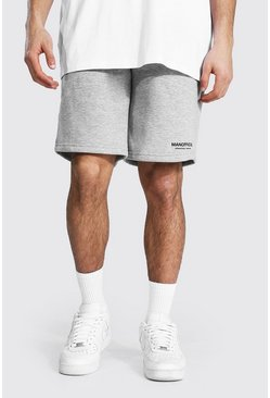 Grey marl grey Tall Man Official Baggy Shorts Met Taille Band Detail