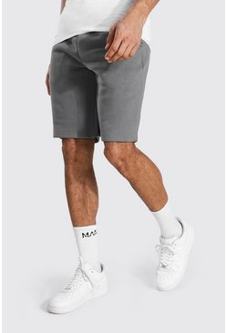 Charcoal grey Tall Mid Length Jersey Shorts With Draw Cords