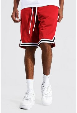 Red Tall Mesh Basketball Shorts With Tape