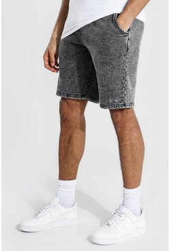 Charcoal grey Tall Mid Length Loose Acid Wash Jersey Shorts