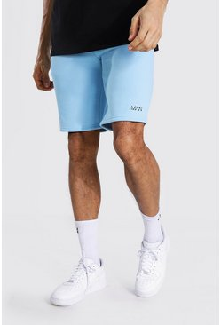 Blue Tall Middellange Original Man Jersey Shorts Met Taille Band Detail