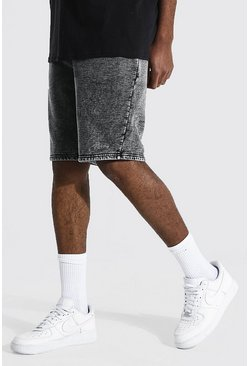 Black Tall Acid Wash Gebleekte Regular Fit Man Signature Shorts