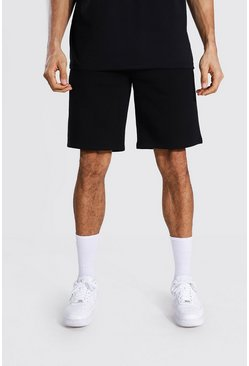 Black Tall Mid Length Jersey Shorts With Draw Cords