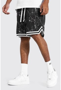 Black Tall Print Mesh Basketball Short