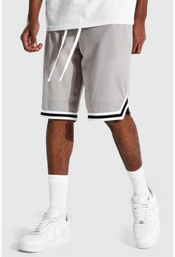 Stone beige Tall Gestreepte Airtex Basketbal Shorts