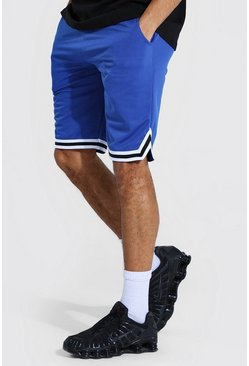 Blue Tall Gestreepte Airtex Basketbal Shorts
