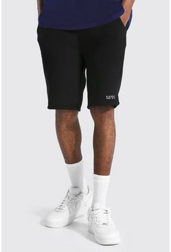 Black Tall Original Man Middellange Jersey Shorts Met Taille Detail