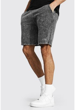 Charcoal grey Tall Man Signature Loose Mid Acid Wash Shorts