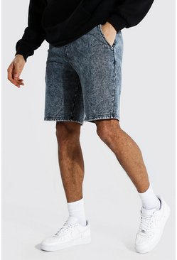 Black Tall Middellange Acid Wash Gebleekte Jersey Shorts