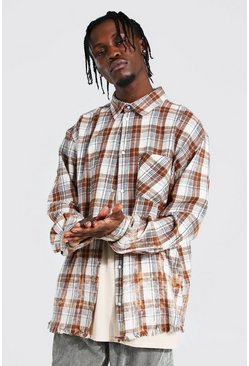 Oversized Bleach Splatter Frayed Check Shirt, Orange naranja