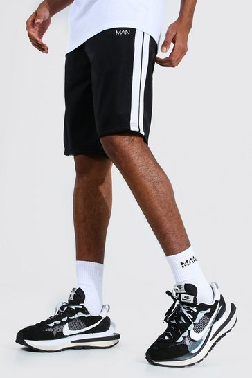 Black Tall Man Tricot Short With Side Tape