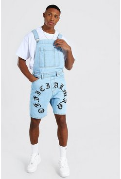 Ice blue Slim Rigid Official Print Short Dungaree