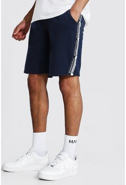 Navy Tall Gestreepte Middellange Man Official Shorts