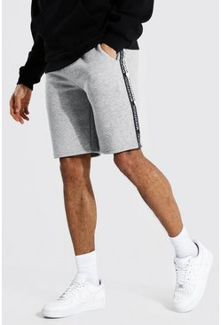 Grey marl grey Tall Man Official Tape Mid Length Shorts