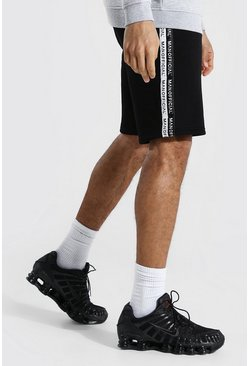 Black Tall Gestreepte Middellange Man Official Shorts