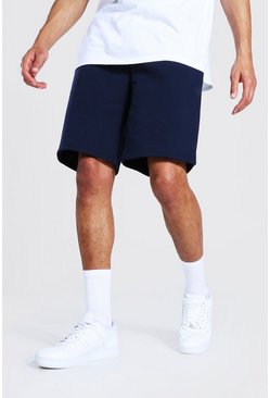 Navy Tall Mid Jersey Shorts With Man Draw Cords