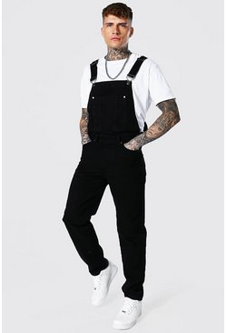 True black Relaxed Fit Official Print Long Dungaree