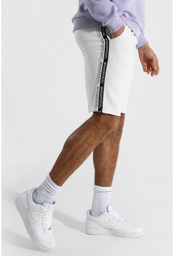 Ecru white Tall Man Official Tape Mid Length Shorts