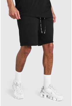 Black Tall Mid Jersey Shorts With Man Draw Cords