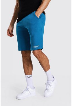 Teal green Tall Man Official Middellange Jersey Shorts Met Taille Band Detail