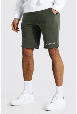 Khaki Tall Middellange Man Official Jersey Shorts Met Taille Band Detail