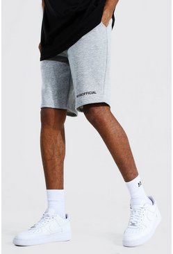 Grey marl grey Tall Middellange Jersey Man Official Shorts Met Taille Band Detail