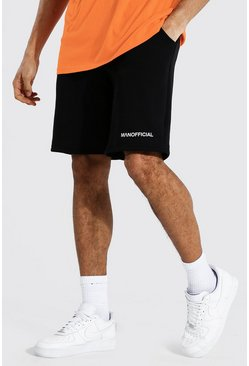 Black Tall Man Official Middellange Jersey Shorts Met Taille Band Detail