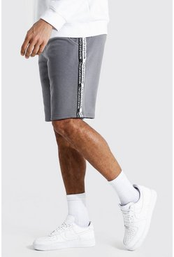 Charcoal grey Tall Middellange Man Official Shorts Met Streep