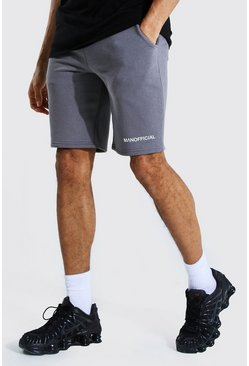 Charcoal grey Tall Middellange Jersey Man Official Shorts Met Taille Band Detail
