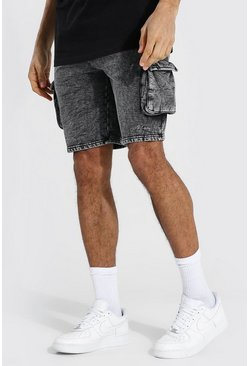 Black Tall Acid Wash Gebleekte Regular Fit Shorts Met Zijpaneel