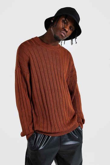 Rust orange Oversized Ribbed Knitted Crew Neck Jumper