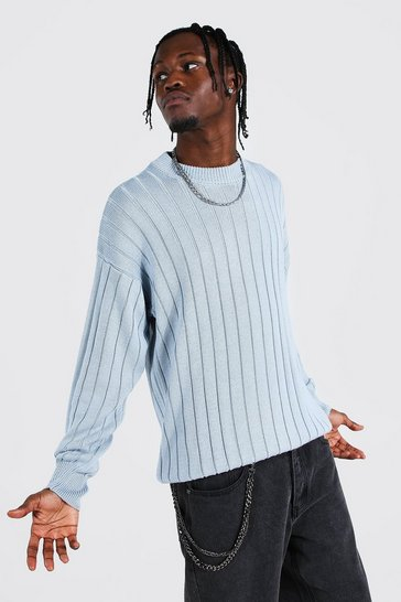 Dusty blue blue Oversized Ribbed Knitted Crew Neck Jumper