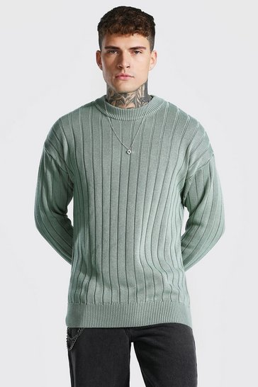 Sage green Oversized Ribbed Knitted Crew Neck Jumper